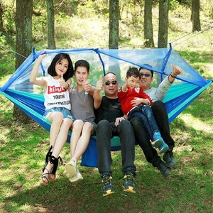 Image 2 - Outdoor parachute cloth hammock with mosquito nets ultra light nylon double army green camping air super load bearing tent