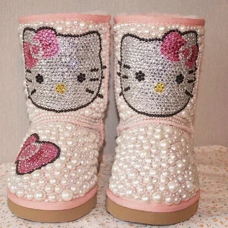 Free Shipping Handmade Rhinestone pearl crystal girl's bling bling fashion Snow Boots kids children Boots warm Winter Shoes tassels feather crystal rhineston snow boots woman winter luxury women s bling bling snow boots warm shiny fashion winter shoes