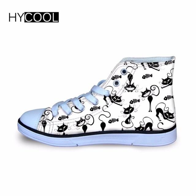 HYCOOL niños zapatilla Cat impresos niños Classic High Top zapatos de lona  chica al aire libre d4efe7f7f84dc