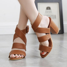 Women High heel shoes summer Sandals Open toe Thick heel Ladies Elastic band Casual shoes Hollow Wedding Party pumps mujer Butyl цена в Москве и Питере