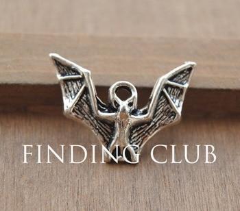 20 pcs Antique Silver Bat Charm Pendants DIY Metal Jewelry A761