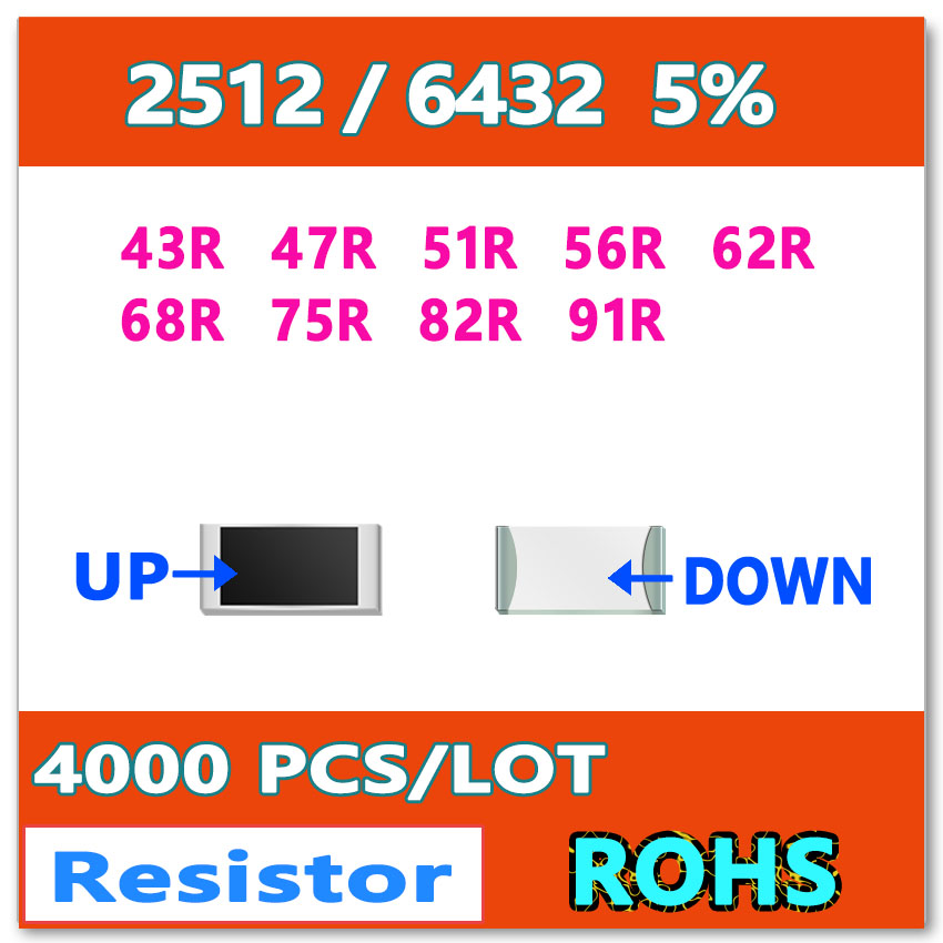 Video Games Jasnprosma 2512 J 5% 4000pcs 43r 47r 51r 56r 62r 68r 75r 82r 91r High Quality Smd 6432 Ohm Resistor