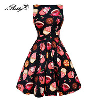 IPretty New Retro 50s Robe Sexy Rockabilly Vintage Dress Women Red Rose Print Pin Up Swing