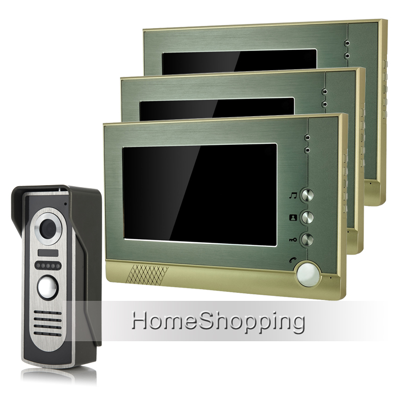 FREE SHIPPING New Wired 7 TFT LCD Screen Video Door phone Intercom Audio System + 1 Outdoor Door Camera + 3 Monitors Wholesale brand new wired 7 inch color video intercom door phone set system 2 monitor 1 waterproof outdoor camera in stock free shipping