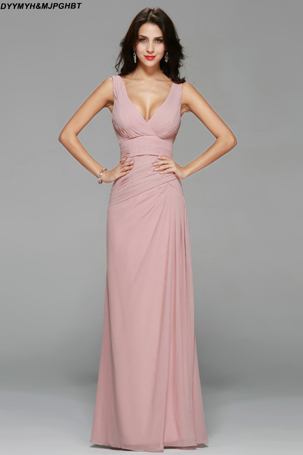 Simple And Elegant Pink Bridesmaid Dresses Long V Neck