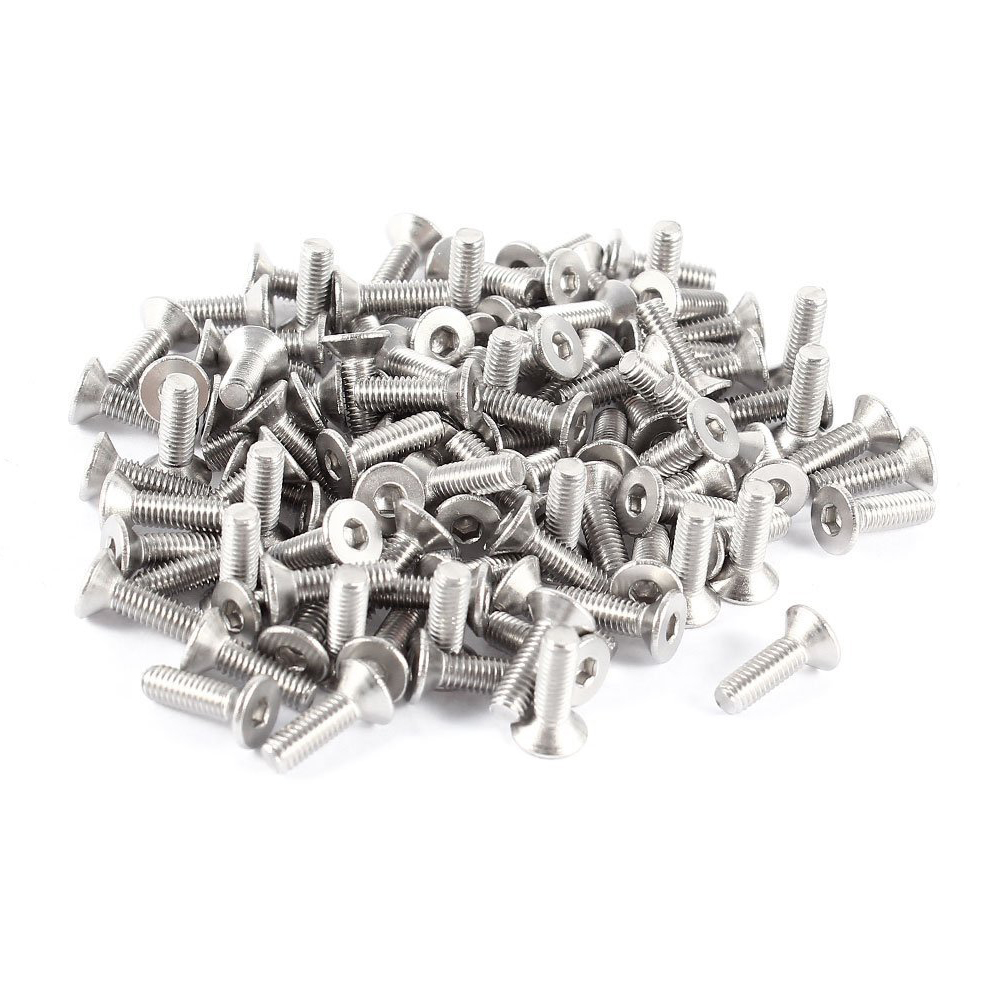 100 Pieces 304 Stainless Steel Flat Head <font><b>Screw</b></font> <font><b>M3</b></font> x <font><b>10mm</b></font> Silver Tone image