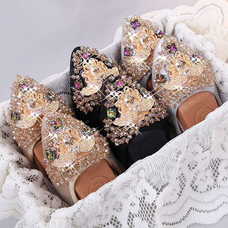 Plus Size 35 45 Ladies Flat Shoes Fashion Bling Rhinestone Women Flats Casual Leather Ballet Flats Fold Up Black/Silver Shoes