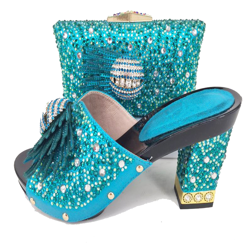 Middle heel 3.5 inches hand made shoes and bag women set turquoise blue italian design shoes and bag to match 2018 SB8159-6 italian made simple