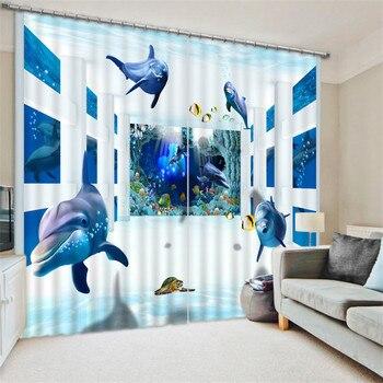 Blue Dolphin Digital Print 3D Blackout Curtains For Living room Bedding room Drapes Cotinas para sala