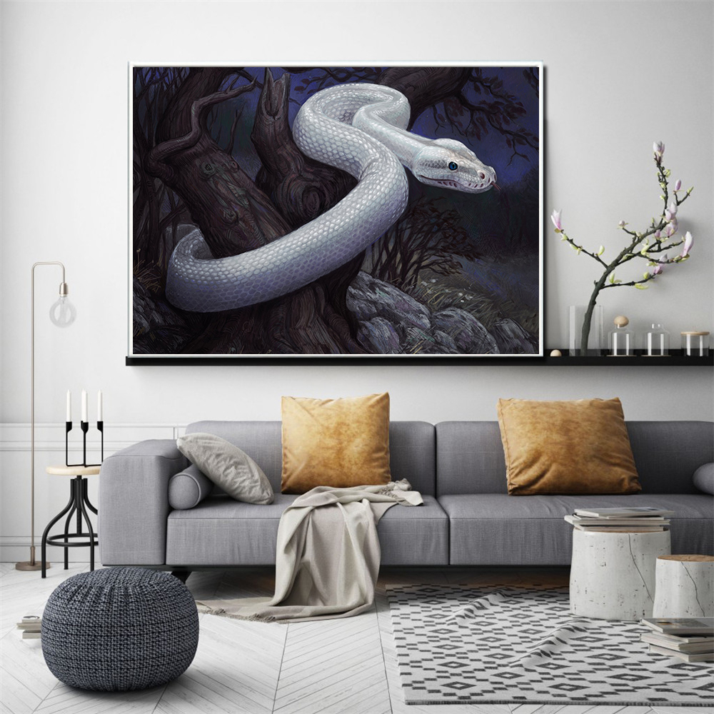 Vintage Wall Decor For Living Room.Us 2 69 10 Off Abstract Oil Painting Living Room Decoration White Snake Poster Boa Poster Vintage Wall Decor Scandinavian Decor Cuadros Print In