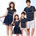2017 nuevo estilo de la familia conjunto de algodón top + bottom mesh madre/vestidos padre madre hija hijo ropa de la camiseta family clothing al17