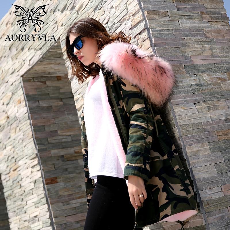 AORRYVLA 2018 Winter Camouflage   Parka   Fur Jacket Long Women Real Raccoon Fur Collar Hooded Coat Faux Fur Liner Military Jacket
