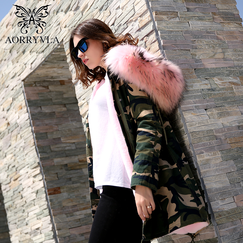 AORRYVLA Camouflage Parka Fur Jacket Long Women Winter 2017 Real Raccoon Fur Collar Hooded Coat Faux Fur Liner Military Jacket printed long raccoon fur collar coat women winter real rabbit fur liner hooded jacket women bomber parka female ladies fp896