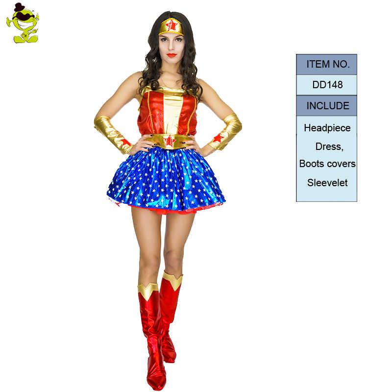 Adulto supergirl traje mulher super-herói cosplay superman trajes meninas vestido de festa roupas