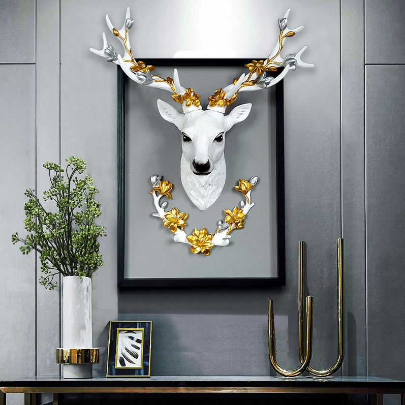 Europe lucky deer head wall hanging decoration 3D Nordic room  nordic decor home hang Christmas