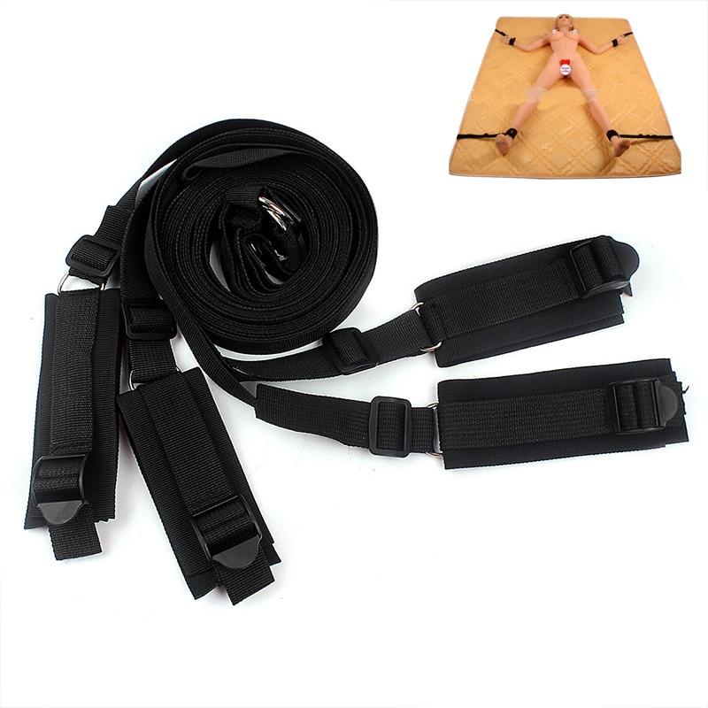 Buy Adult Games Slave Bdsm Bondage Set Ankle Cuffs Bed Slave Handcuffs Erotic Toys Adult Sex Products Couples Beds Belt