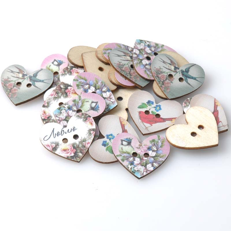 Mixed flower painted heart wooden decorative buttons for Sewing and craft supplies