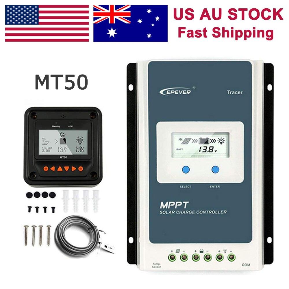Epever 10a 20a 30a 40a mppt controlador de carga solar 12 v/24 v medidor remoto automático mt50 apto para bateria de lítio negativo à terra lcd