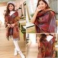 Envío gratis mujeres Pashmina moda de gran tamaño Cardigan Tribal patrón del Poncho del cabo del mantón de la bufanda de la capa