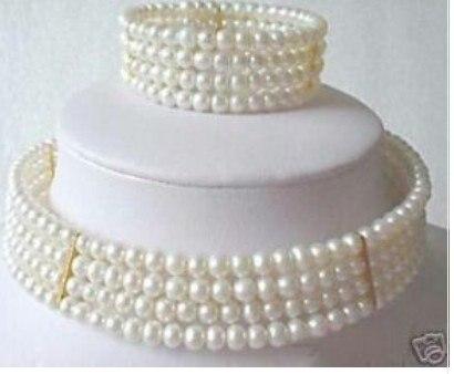 Women Gift word Love real Stuning New 6mm Pearl Choker Necklace Bracelet set