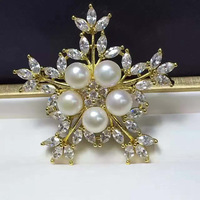 European and American high end large Korean plate pure natural pink freshwater pearl brooches