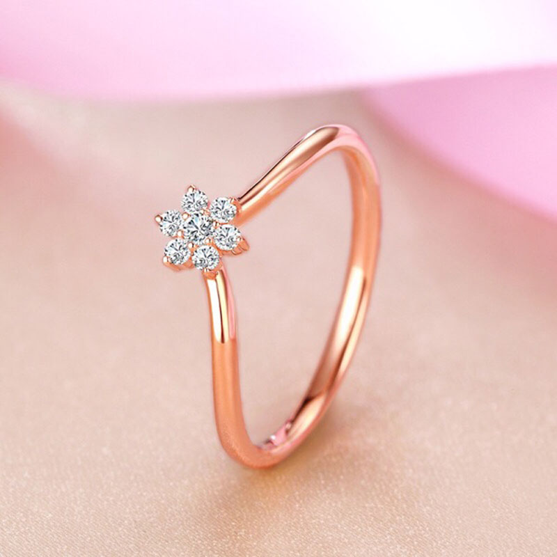 Women Fashion Silver Ring Solid 925 Sterling Silver Jewelry Rose Gold Color Tail Finger Ring Cubic Zirconia for Young Ladies punk style solid color hollow out ring for women