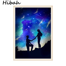 5D Diy Diamond Cross Stitch Starry Sky and Lovers Round Embroidery Needlework Mosaic Crafts