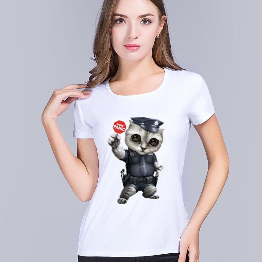 PyHenPH Brand Women Clothing 2017 Fashion Cat Police Panic Now Print T-shirt Funny Animal Desging Hipster Tops Womens Tshirt
