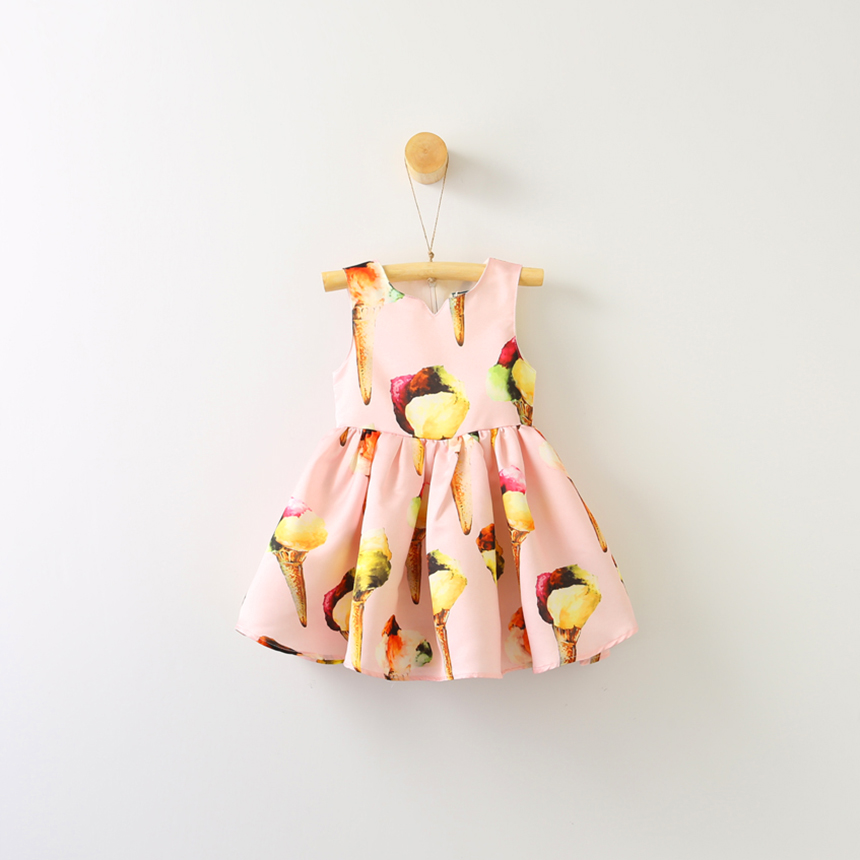Children Baby Ice Cream Print Clothes Lolita Girls Lace Sleeveless Dresses Summer Wholesale Ruched Princess Clothing 6pcs/LOT