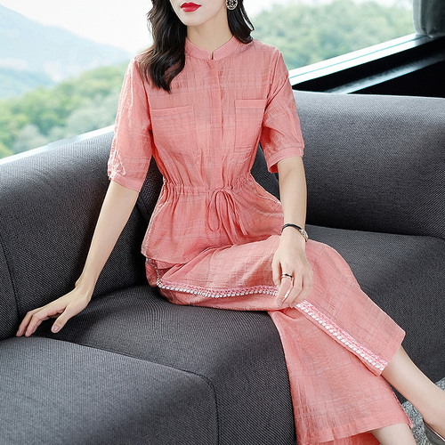 2019 Summer Two Piece Sets Outfits Women Blue Pink Short Sleeve Tunics Tops And Wide Leg Pants Suits Office Elegant 2 Piece Sets 42