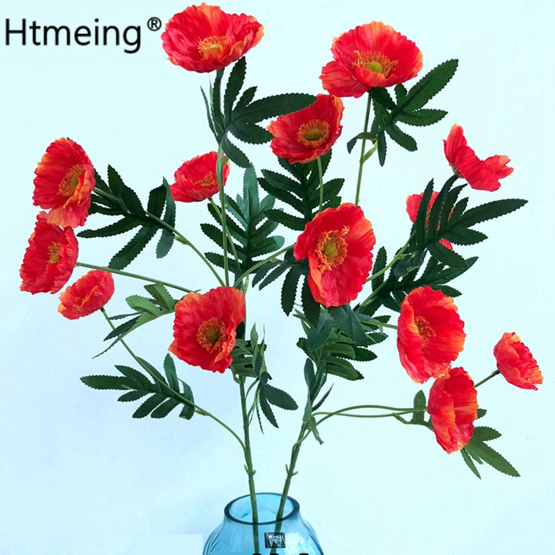 1pcs artificial 80cm long stem poppy flower with leaves fleurs 1pcs artificial 80cm long stem poppy flower with leaves fleurs artificielles for autumn fall home party decoration diy wreath in artificial dried flowers mightylinksfo
