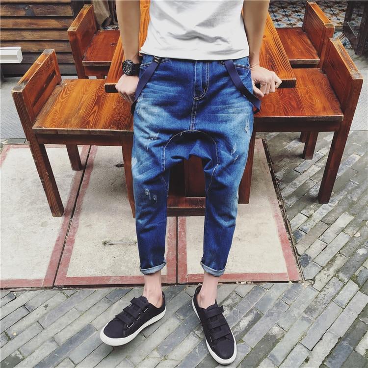 2016 Bleu Hommes Tout Pantalon Démontage allumette Printemps Denim Chanteur Mâle De Maigre Bib Costumes Nouveau Vêtements Scène Mince rHTqWr