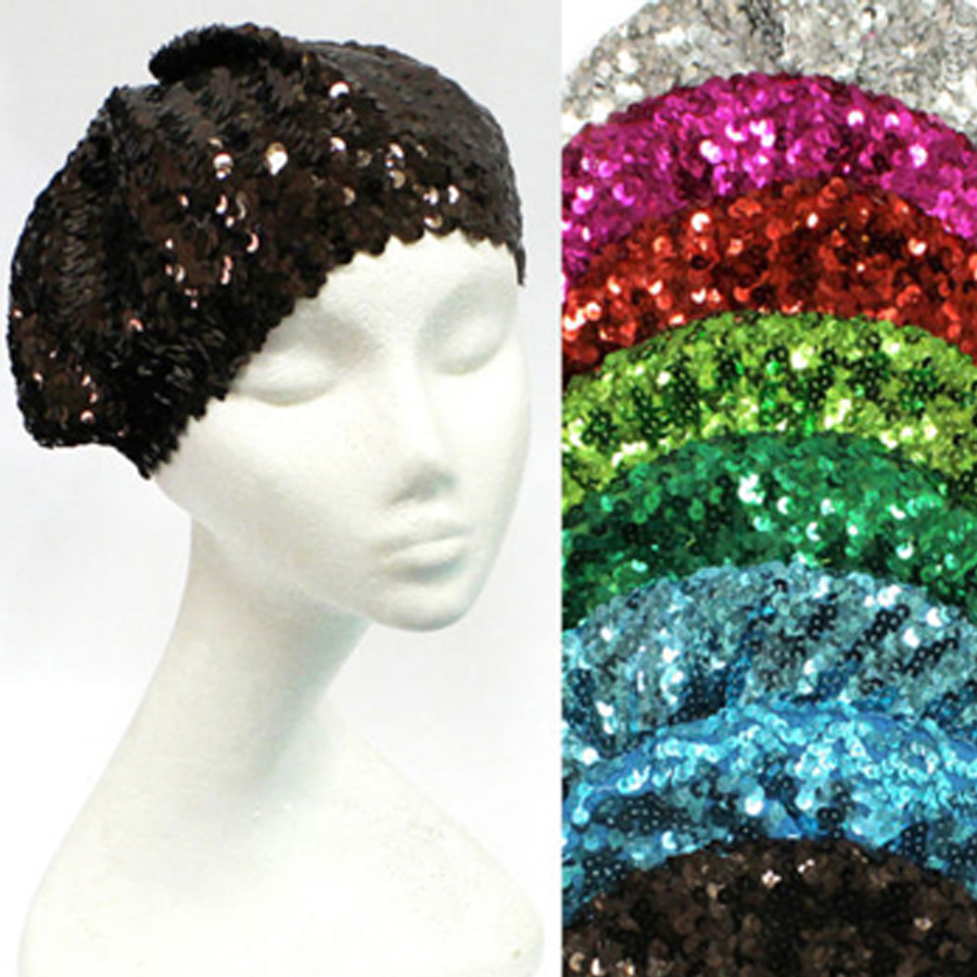 Sequins Tam Stretch Shimmer Fun Shiny Beret Cap Beanie Dance Hat Mix Colors a0023577908