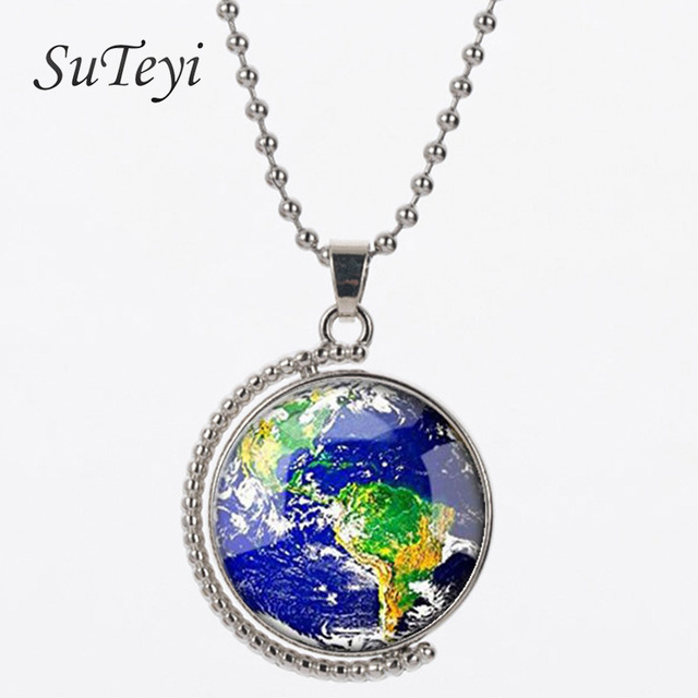 Suteyi earth world map double face hot rotating glass dome jewelry suteyi earth world map double face hot rotating glass dome jewelry vintage globe necklace planet necklace gumiabroncs Image collections