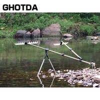 GHOTDA Angeln Ausrüstung Teleskop Angelruten Halter Steht Folding Aluminium Legierung für Hand Karpfen Angelruten