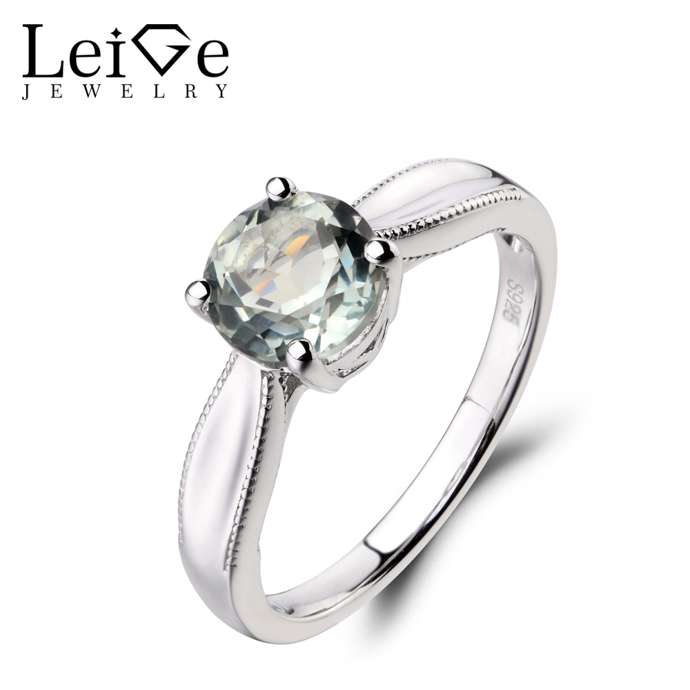 Leige Jewelry Solitaire Ring Natural Green Amethyst Ring Round Cut Wedding Ring Gemstone 925 Sterling Silver Ring Gift for Women leige jewelry solitaire ring natural green amethyst ring round cut wedding ring gemstone 925 sterling silver ring gift for women