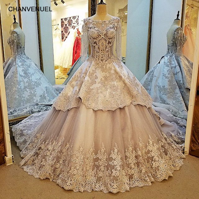 LS86367 Arabic Evening Gowns Dresses Long 2017 Satin Luxury Gray ...