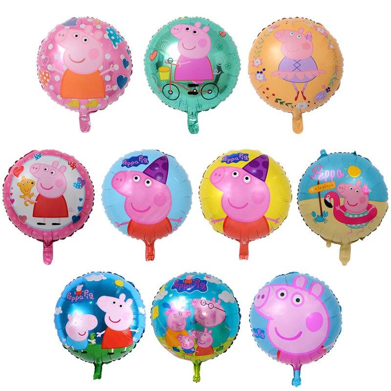 Воздушные шары фигурки из фольги с изображением Свинки Пеппы, 10 шт., ручные игрушки с героями мультфильмов, круглые шары, украшения для дня рождения, вечеринки, детские игрушки с изображением Свинки Пеппы, 18 дюймов Игровые фигурки и трансформеры      АлиЭкспресс