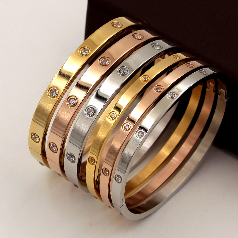 Fashion Love Jewelry Women Bangle Titanium Steel Couple Jewelry Full CZ White Crystal Buckle Bracelets Bangles Men B002