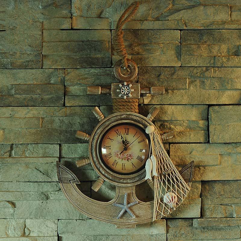 Méditerranéenne Créative Lager Ancre En Bois Horloge Murale Artisanat Accueil Hanging D'ameublement Art Décoratif Nautique Rudder Timonier Cadeau