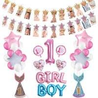 Decoraciones para Baby Shower y niño 1er cumpleaños de niña y niño 12 marco de fotos de meses Banner decoración para fiesta de cumpleaños de un año para Baby Shower