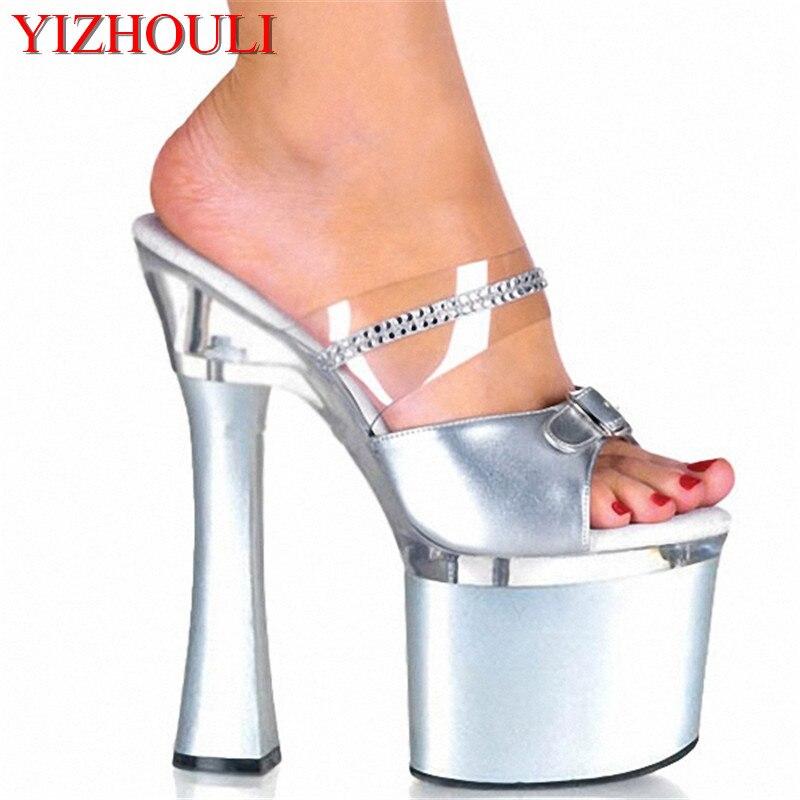 Sexy Argent Bobine 7 Hauts Chaussures 18 Talon Haute Pouce Princesse Or À Pantoufles Avec Cm Talons Strass Diamant xwa0TURwqv