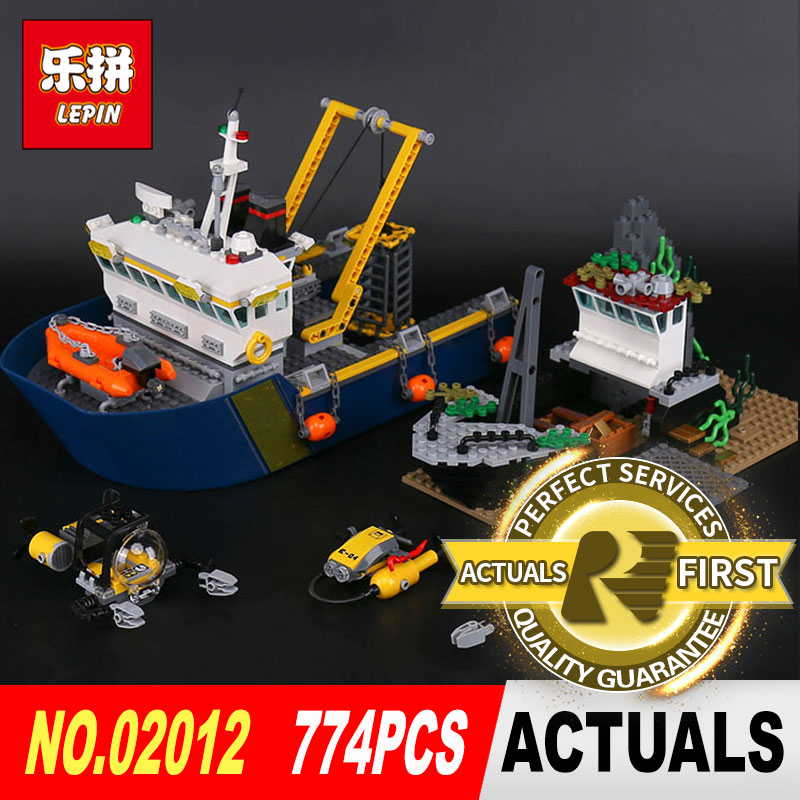 Lepin 02012 774Pcs Genuine City Series The Deep Sea Exploration Ship Set 60095 Building Blocks Bricks DIY Toys for Children gift lepin 16002 2791pcs modular pirate ship metal beard s sea cow building block bricks set toys legoinglys 70810 for children gifts