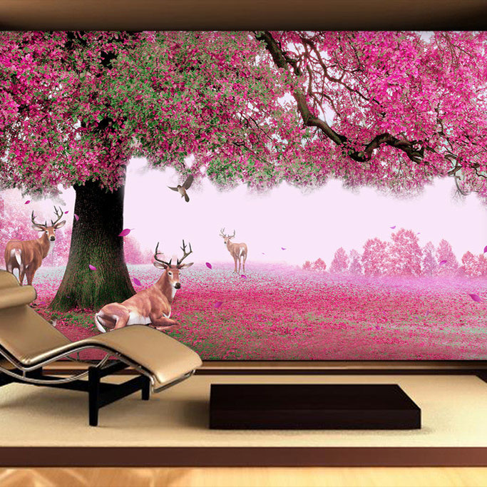 Purple cherry Tree Deer Large mural 3d Wall paper for TV Background 3d Photo Murals Wallpaper 3d Papel Murals 8d papel wolf animal murals 3d animal wallpaper mural for living room background 3d wall photo murals wall paper 3d stickers