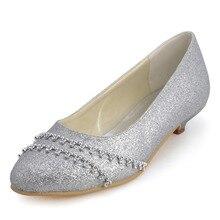B129B Frauen Evening & Silber Runde Kappe Niedrigen Stiletto Glitter PU Strass Hochzeit Schuhe