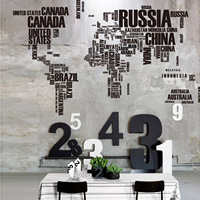 English Letters World Map 116 190cm Bedroom Living Room Video Wall Stickers Wall Decoration Wallpaper Wall