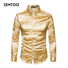 Men's Luxury Metallic Shirt Men Shiny Silky Satin Dress Shirt Long Sleeve Mens Casual Shirt Performance Wear Social Shirt ZE0344