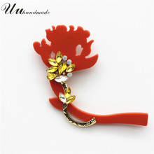 2017 Limited Sale Plant Broches Jewelry Fashion Brooch Christmas Gifts Acrylic Flower Lapel Pin Broche Large Brooches For Women