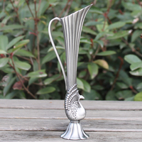 小さな花瓶2017新しいクリエイティブピューターめっき金属花瓶家の装飾孔雀の花