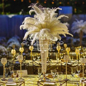 Centro de mesa de cristal para boda florero para boda decoración jarrones de trompeta soporte de bola de Flor de Oro y Plata